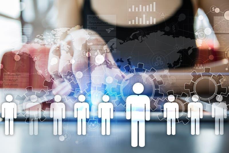 Personalresursledning, timme, rekrytering, ledarskap och teambuilding Affärs- och teknologibegrepp stock illustrationer
