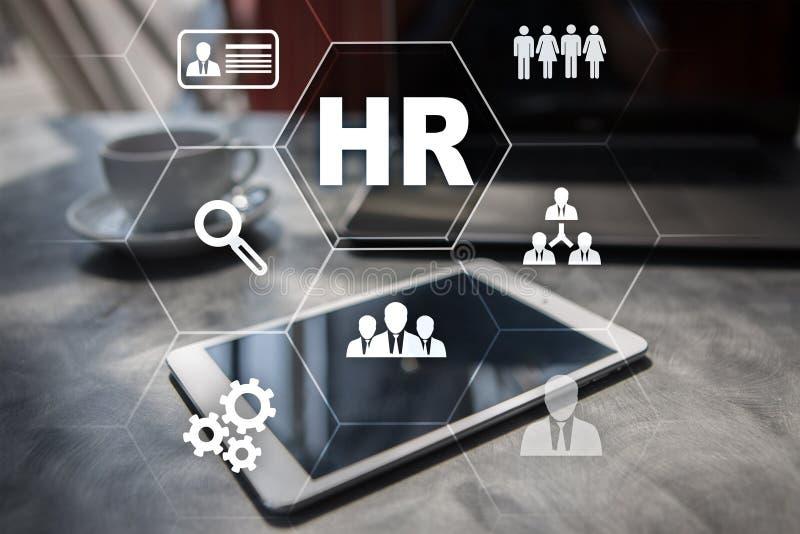 Personalresursledning, timme, rekrytering, ledarskap och teambuilding Affärs- och teknologibegrepp royaltyfri illustrationer
