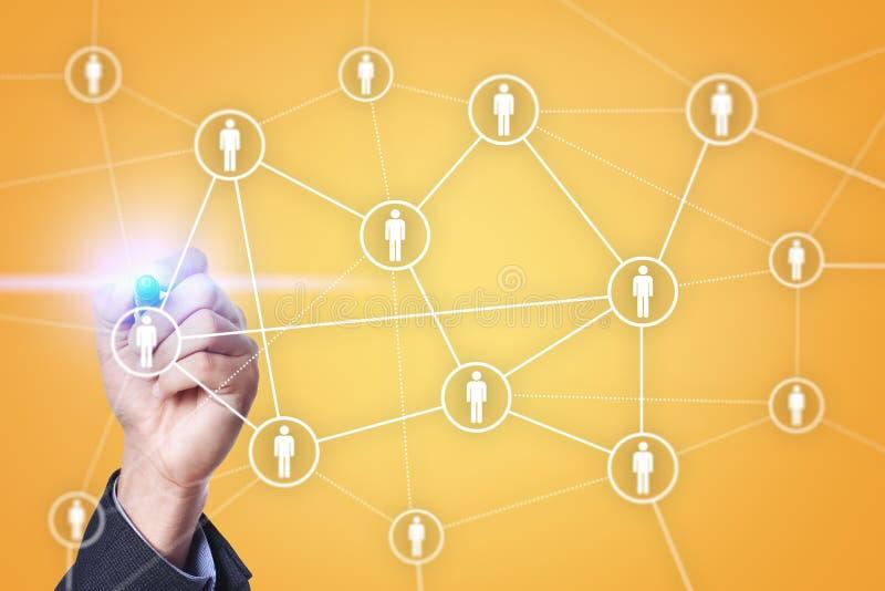 Personalresursledning, timme, rekrytering, ledarskap och teambuilding Affärs- och teknologibegrepp royaltyfri fotografi