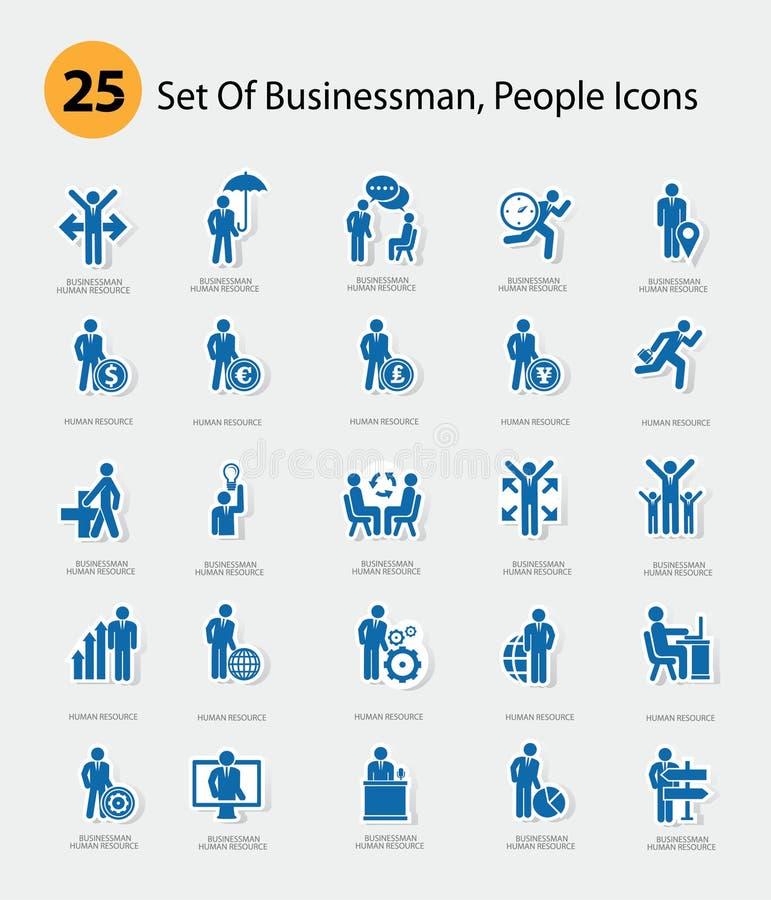Personalresurssymboler, blå version royaltyfri illustrationer