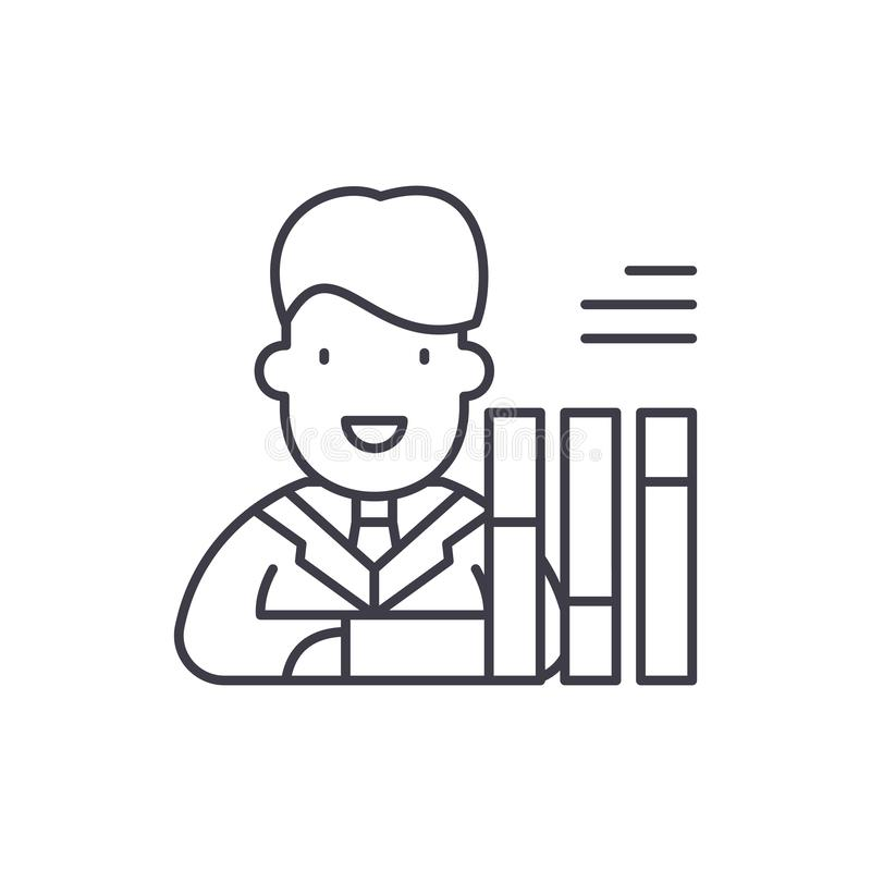 Personalsammanställningsrutalinje symbolsbegrepp Linjär illustration för personalsammanställningsrutavektor, symbol, tecken vektor illustrationer