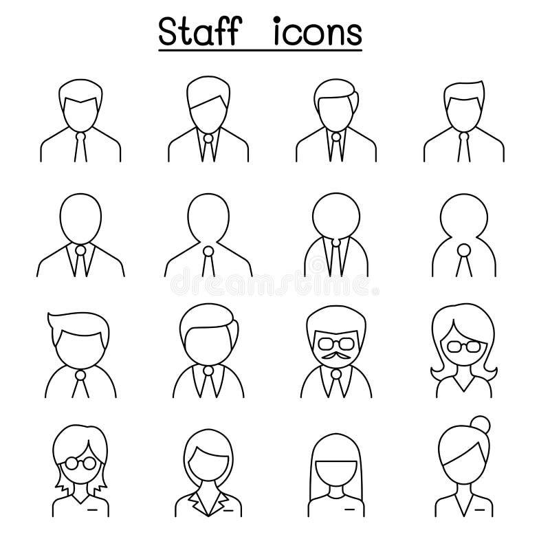 Personalsymbolsuppsättning i den tunna linjen stil stock illustrationer