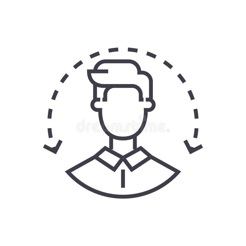 Personalwesen, Zielgruppe, Kundenservice-Vektorlinie Ikone, Zeichen, Illustration auf Hintergrund, editable Anschläge stock abbildung