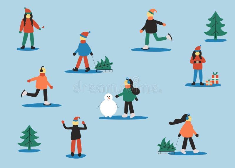 Personas activas Invierno fijado con la gente: hombre patinador, mujeres con el trineo, mujeres con el regalo, hombres en suéter, libre illustration