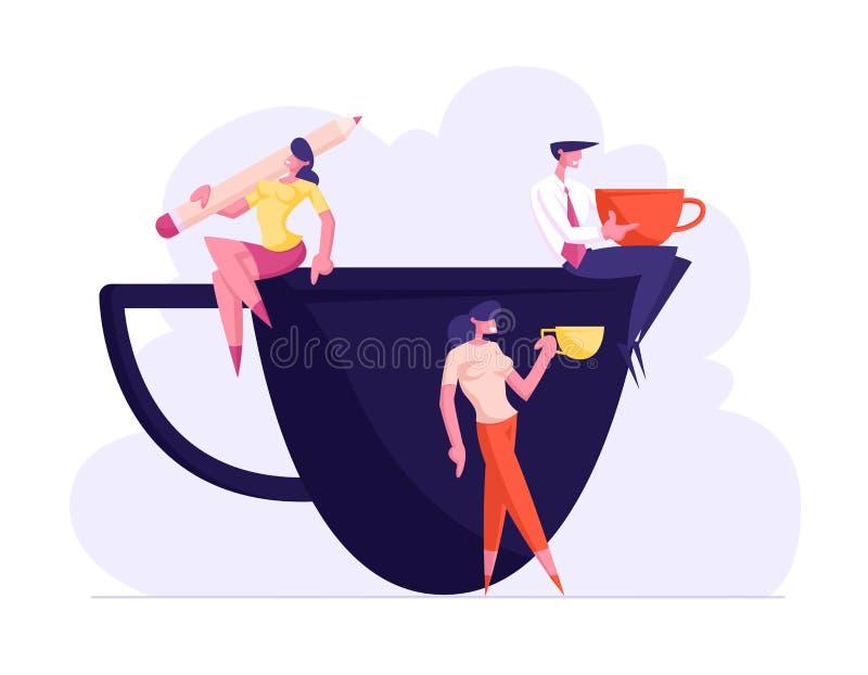 Personas, amigos o colegas del negocio en descanso para tomar café en sala de reunión La gente relajante sonriente se sienta en l stock de ilustración
