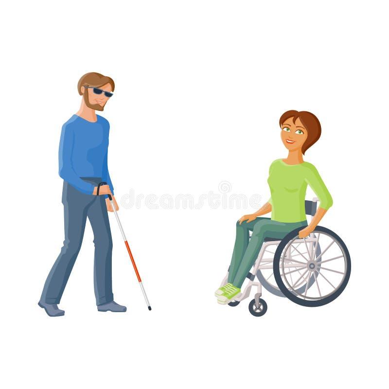 Personas con discapacidades - mujer en silla de ruedas, hombre ciego libre illustration