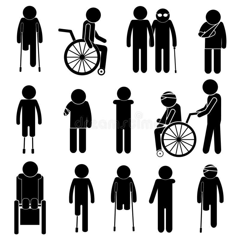 Personas con discapacidades Sistema de la silueta del vector stock de ilustración