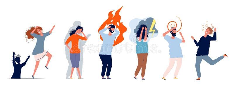 Personas con trastornos mentales Problemas médicos personajes estrés personas con ansiedad y varios problemas psiquiátricos stock de ilustración