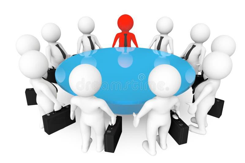 personas 3d que se encuentran en la mesa de reuniones ilustración del vector