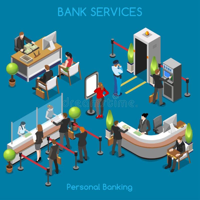 Personas de la oficina 02 del banco isométricas stock de ilustración