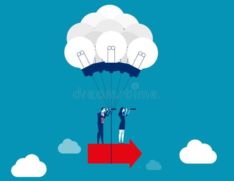 Personas del asunto que trabajan junto Creando idea para hacer crezca Ejemplo del vector del negocio del concepto, diseño de cará libre illustration