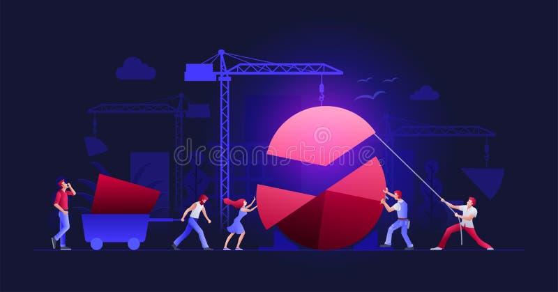 Personas del asunto que trabajan junto ilustración del vector