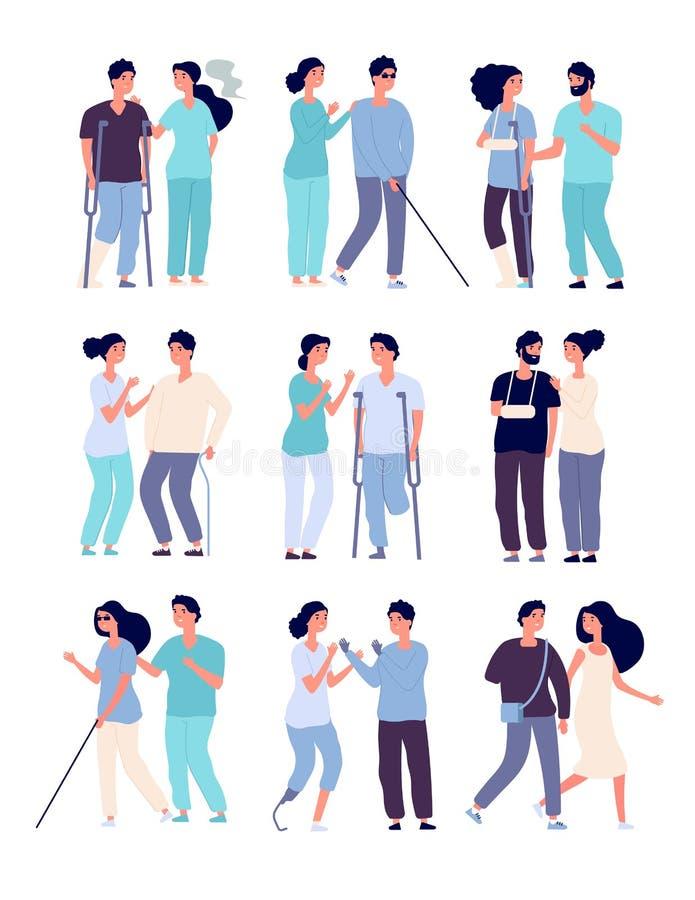 Personas discapacitadas y ayudantes personas en silla de ruedas, hombres con las muletas y prótesis con incapacidades del vector  libre illustration