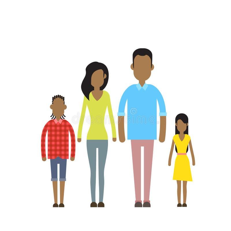 Personas felices afroamericanas de la familia cuatro, padres con dos niños stock de ilustración
