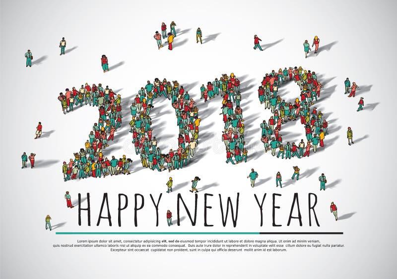 2018 personas grandes del grupo de la muchedumbre de la Feliz Año Nuevo libre illustration