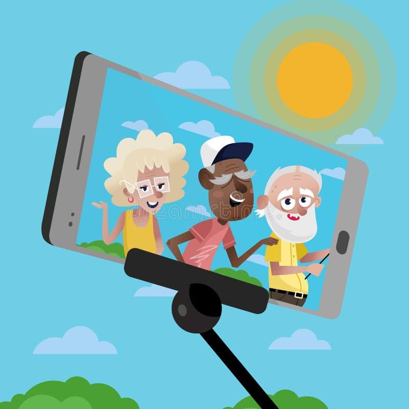 Personas maduras sonrientes que hacen el selfie stock de ilustración