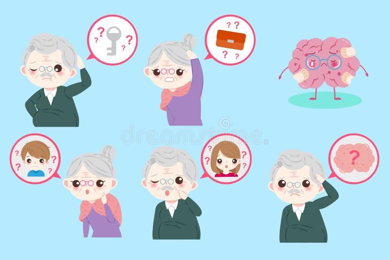 Personas mayores con amnesia stock de ilustración