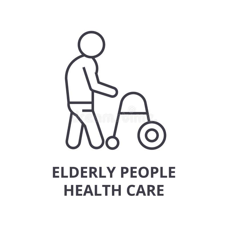 Personas mayores de la línea fina icono, muestra, símbolo, illustation, concepto linear, vector de la atención sanitaria stock de ilustración