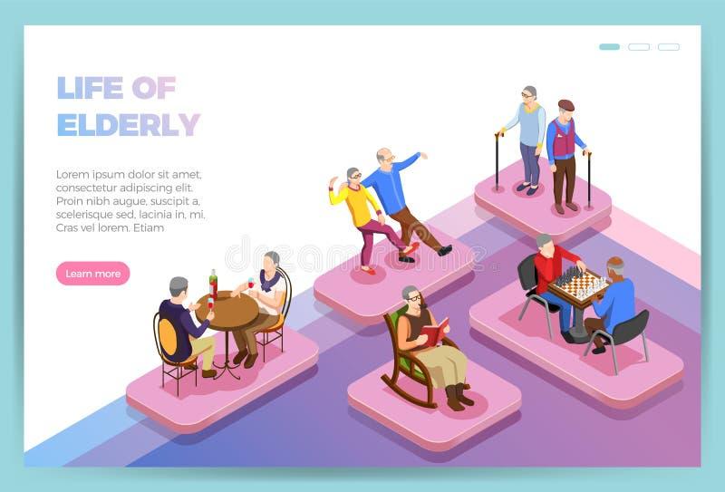 Personas mayores de la página web isométrica ilustración del vector