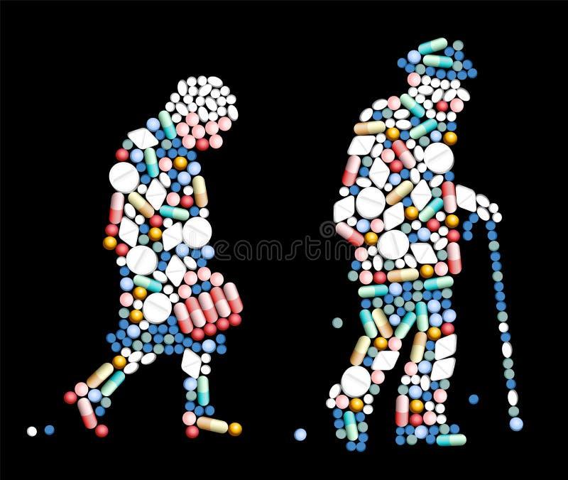 Personas mayores de las píldoras de las tabletas ilustración del vector
