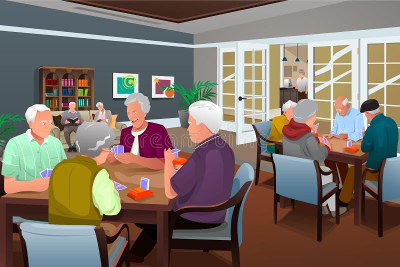 Personas mayores de las tarjetas que juegan libre illustration