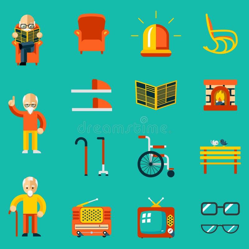 Personas mayores de los iconos ilustración del vector