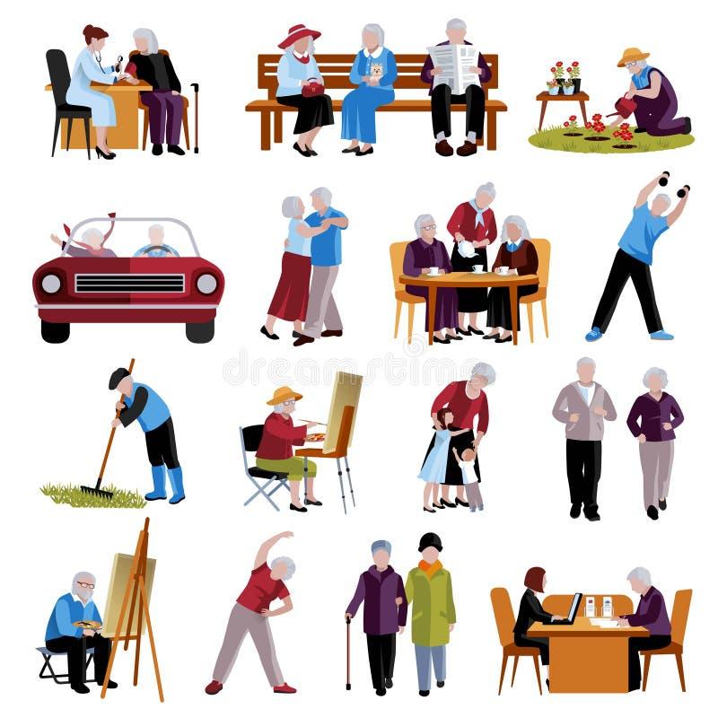 Personas mayores de los iconos fijados stock de ilustración