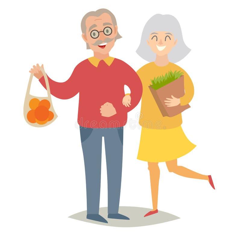 Personas mayores de los vegetarianos Gente, hombre y mujeres mayores felices Ejemplo plano del vector libre illustration