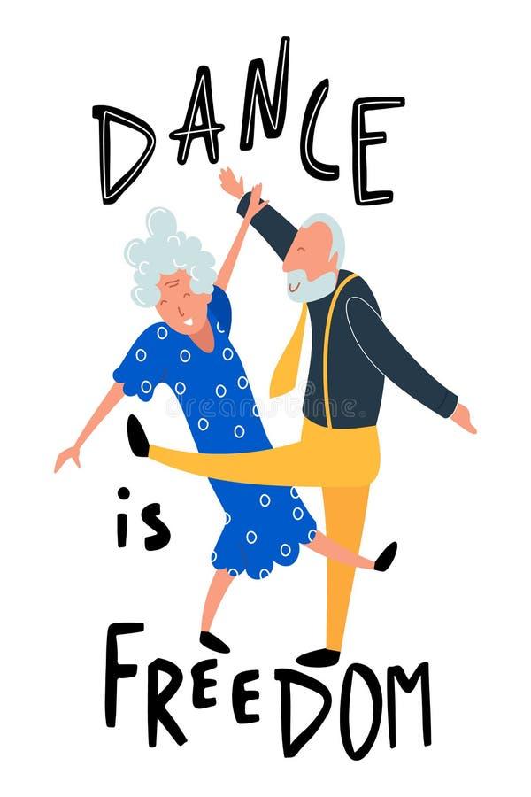 Personas mayores del baile Mujeres y hombres envejecidos felices en el partido La danza de motivación de la cita de la música es  libre illustration