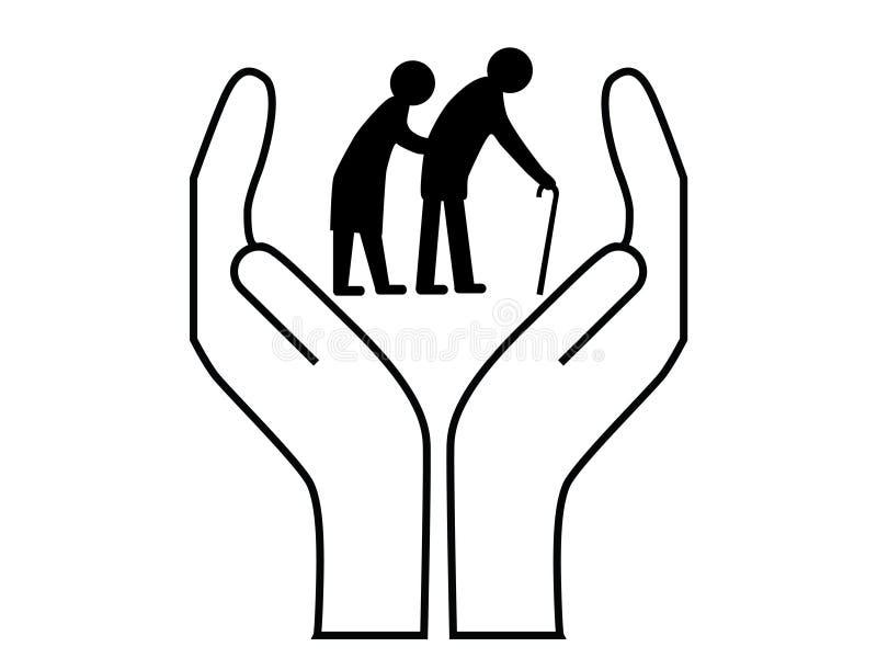Personas mayores del cuidado stock de ilustración