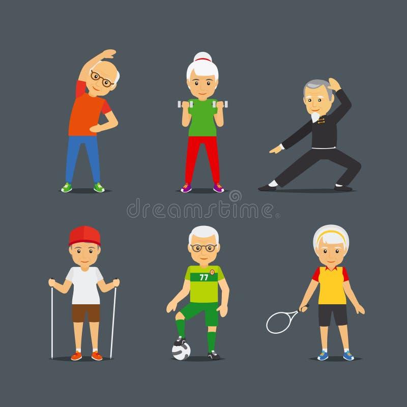 Personas mayores del deporte de los iconos de la forma de vida stock de ilustración