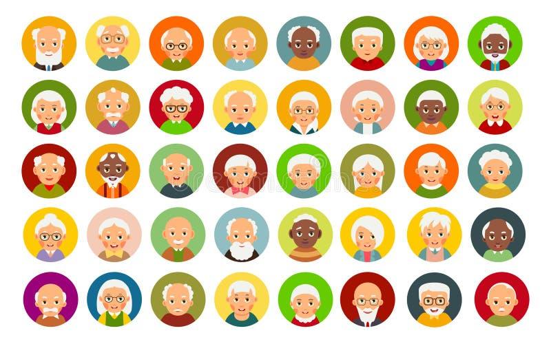 Personas mayores del usuario de Avatar Icono plano moderno con las personas mayores principales del usuario Conjunto del icono de libre illustration