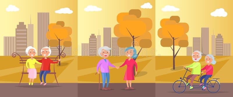 Personas mayores en la bandera del vector del parque de pares maduros ilustración del vector