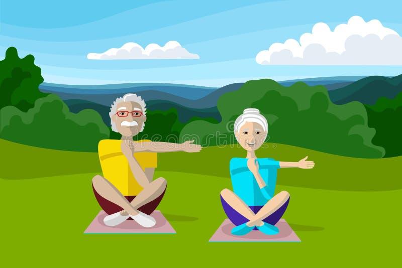 Personas mayores felices que hacen yoga con Mountain View hermoso sobre el fondo ilustración del vector