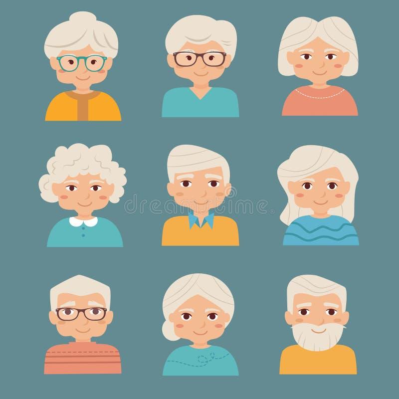 Personas mayores fijadas ilustración del vector