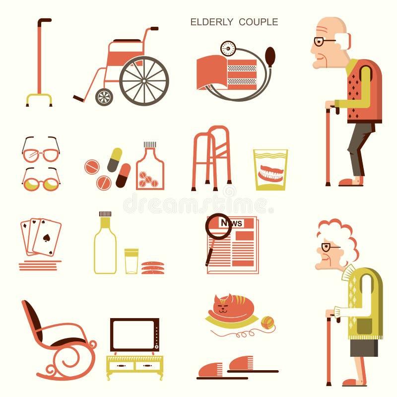 Personas mayores y objetos para la vida stock de ilustración