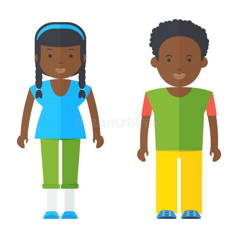Personas negras del adolescente ilustración del vector