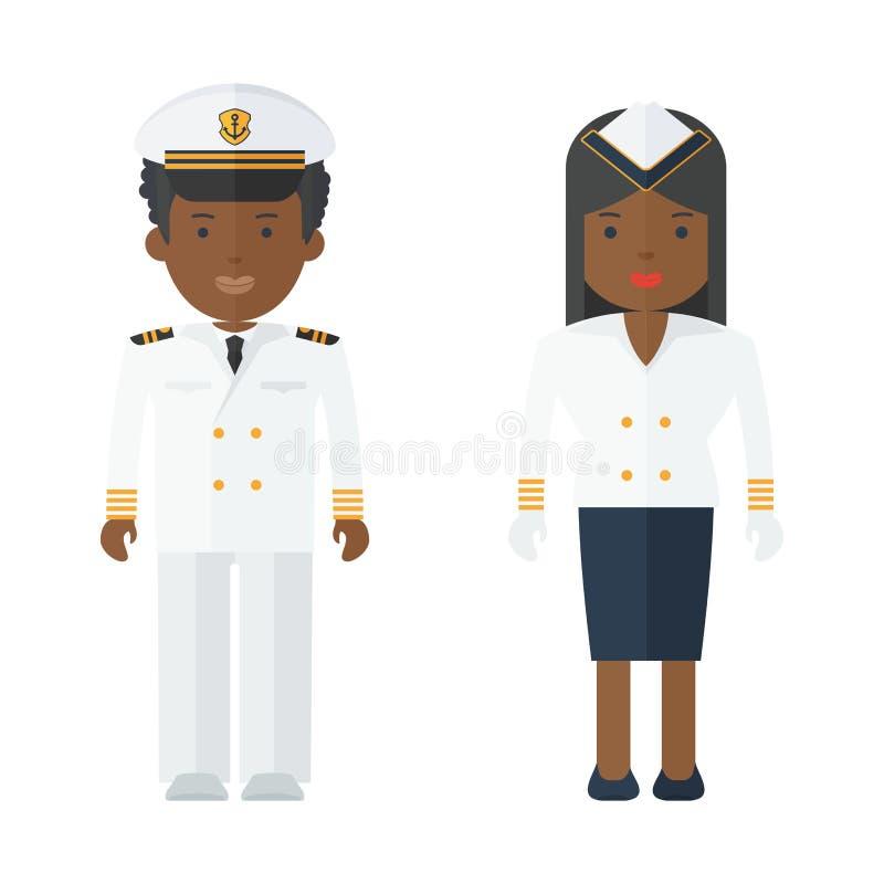 Personas negras del personal de la nave ilustración del vector