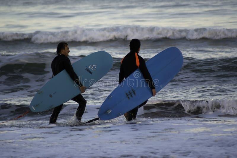 Personas que practica surf fotos de archivo