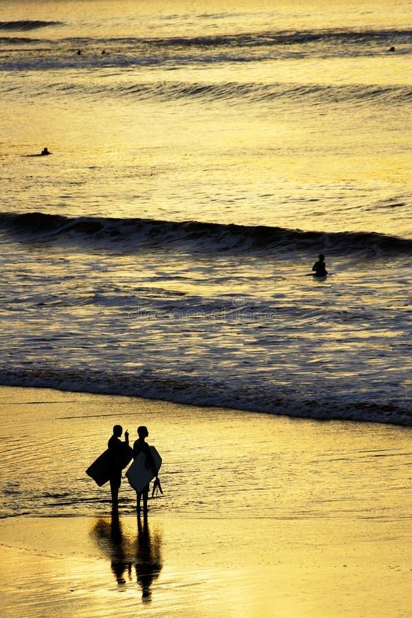 Personas que practica surf de la puesta del sol imagen de archivo libre de regalías