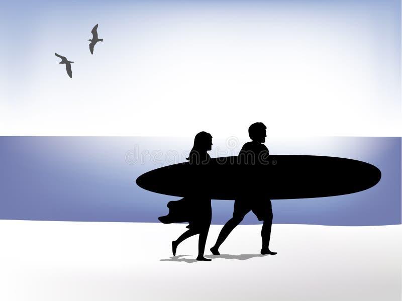Personas que practica surf en la playa ilustración del vector
