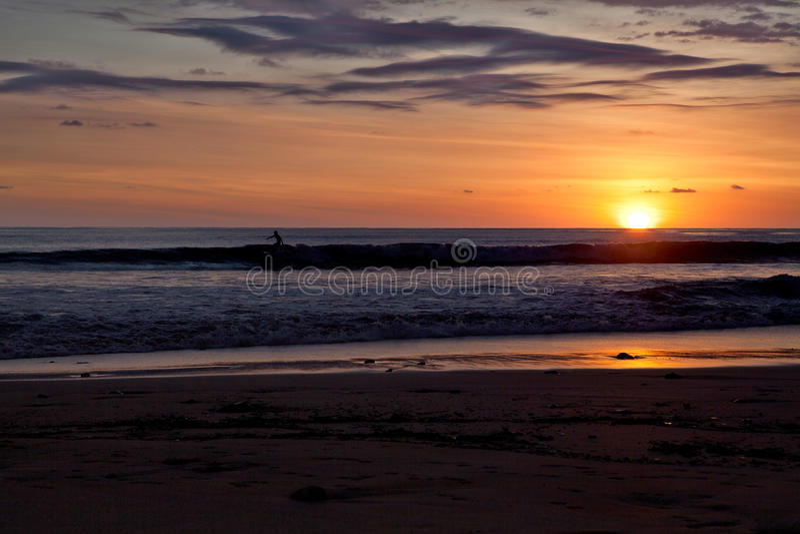 Personas que practica surf en la playa de Santa Teresa en la puesta del sol/Costa Rica foto de archivo