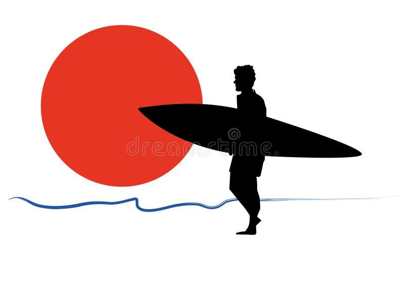 Personas que practica surf en la puesta del sol fotos de archivo libres de regalías