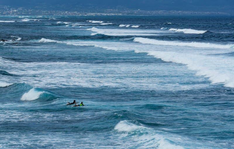 Personas que practica surf que esperan las ondas grandes foto de archivo