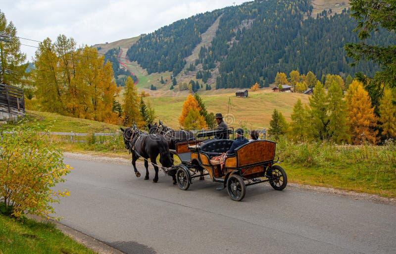 Personas que viajan con un carruaje tirado por caballos en la campiña de Alpe Di Siusi, en los Dolomitas italianos de Italia fotos de archivo
