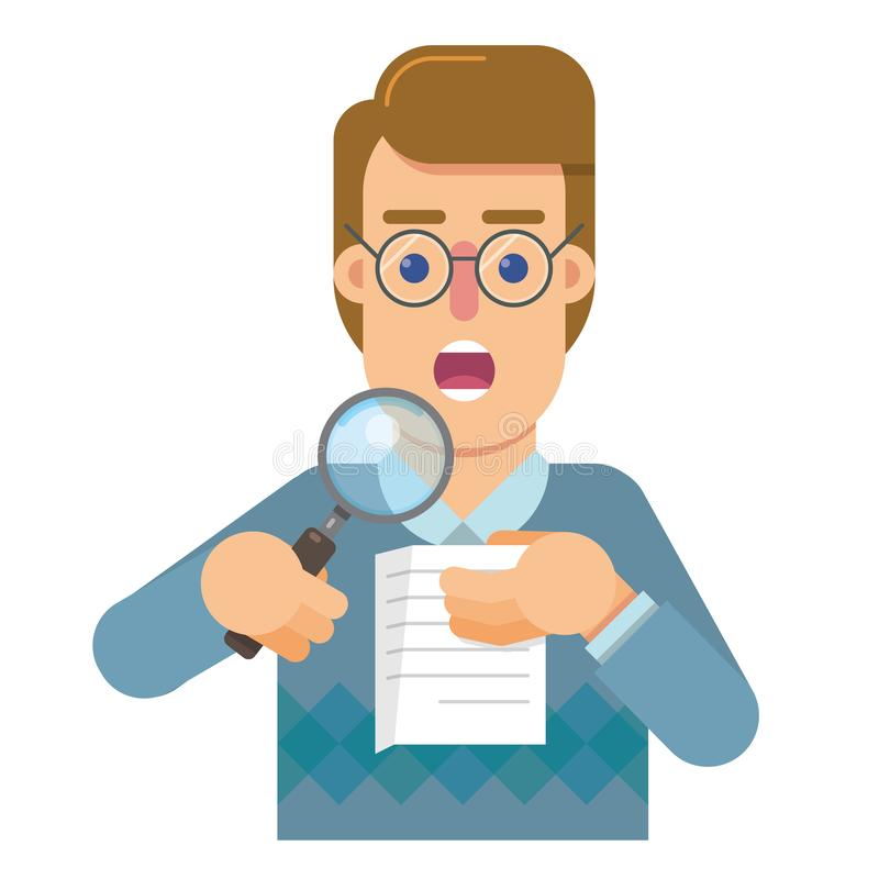 Persondelegaten till revisionen, som analyserar, och forskar riktigheten av arbetet vektor illustrationer
