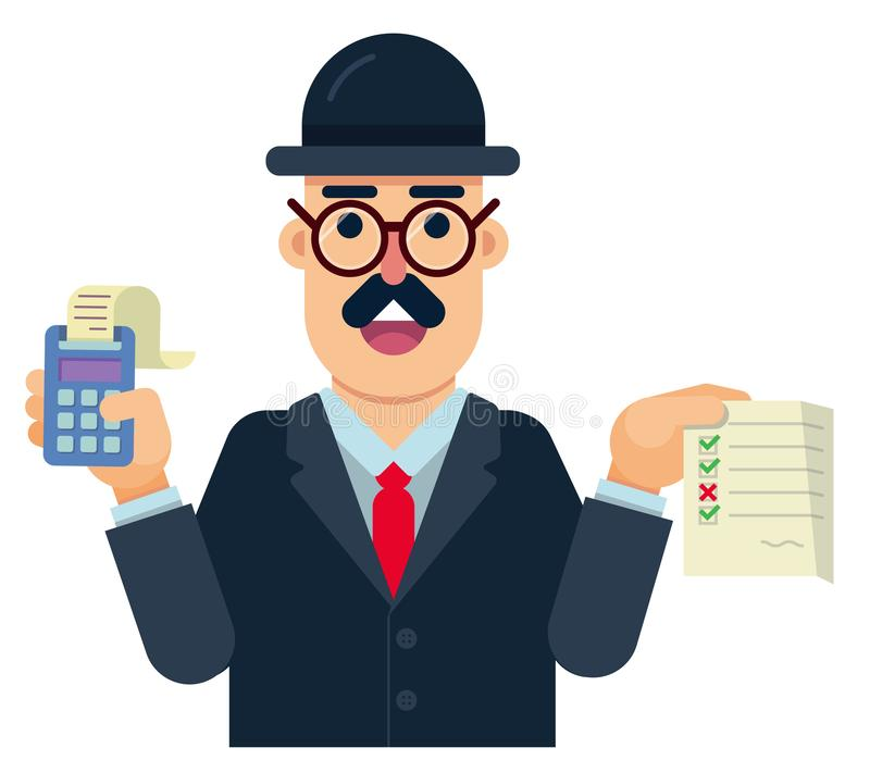 Persondelegaten till revisionen, som analyserar, och forskar riktigheten av arbetet stock illustrationer