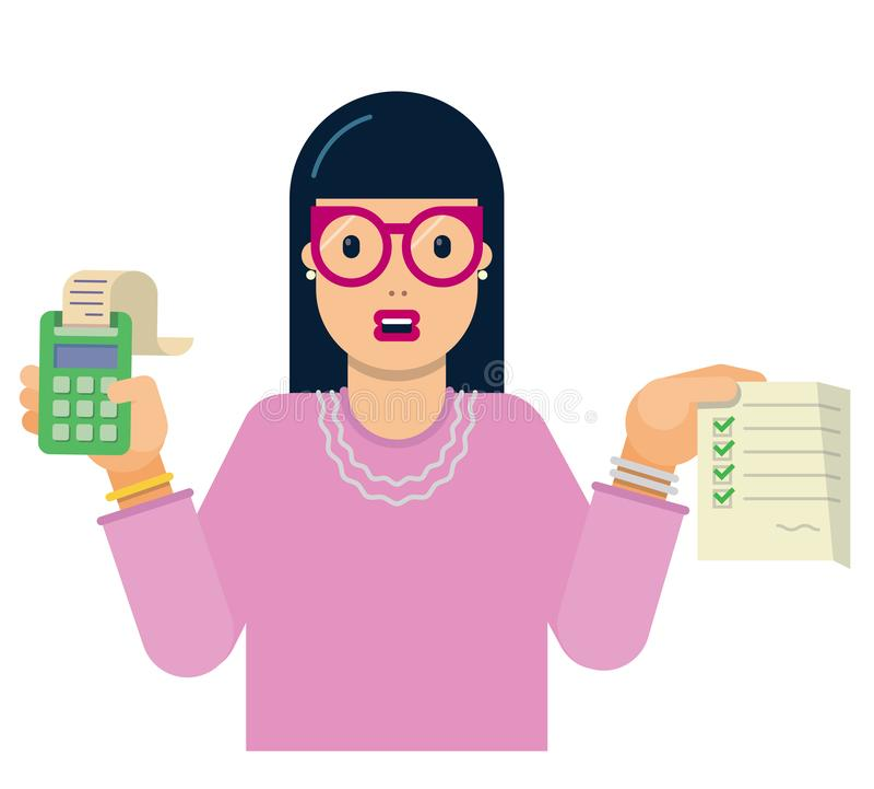 Persondelegaten till revisionen, som analyserar, och forskar riktigheten av arbetet royaltyfri illustrationer
