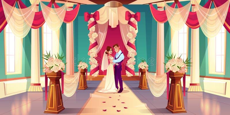 Persone appena sposate sul vettore del fumetto di cerimonia di nozze illustrazione vettoriale