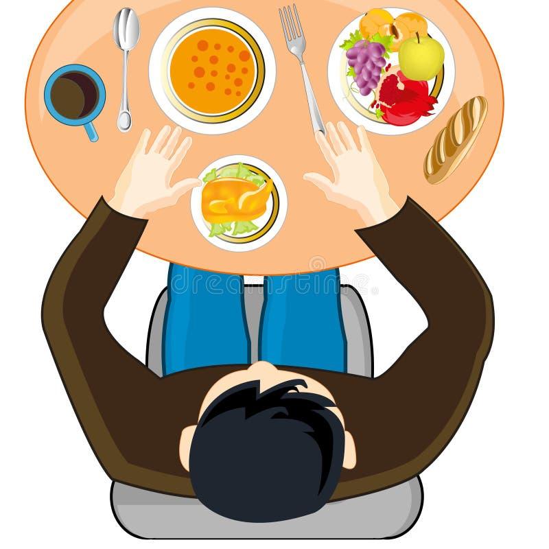 Persone con il pasto alla tavola illustrazione vettoriale
